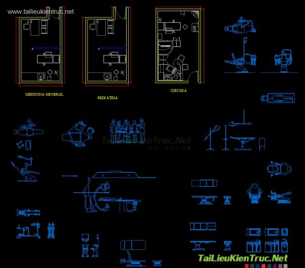 Tổng hợp Autocad đồ nội thất bệnh viện