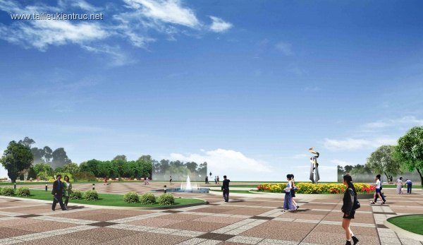 Phối cảnh công viên công cộng hiện đại L028