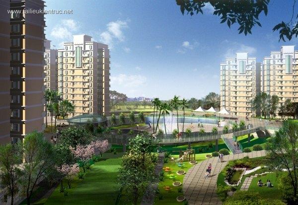 Phối cảnh khu phức hợp chung cư và công viên L063