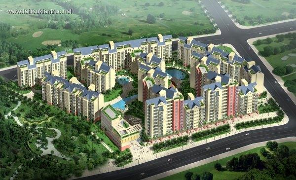 Phối cảnh tổ hợp khu thương mại,chung cư cao tầng L083