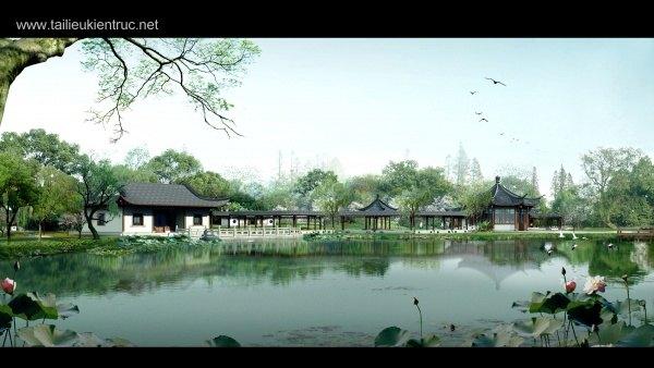Phối cảnh nhà xưa bên bờ hồ L016