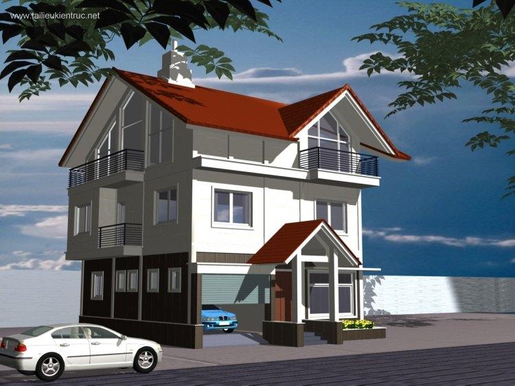 Hồ sơ thiết kế thi công biệt thự 2 tầng mái dốc tích 10,6x11,5m 078