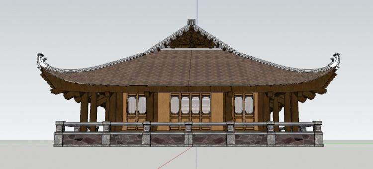 Phối cảnh 3d sketchup nhà mái ngói truyền thống file sketchup