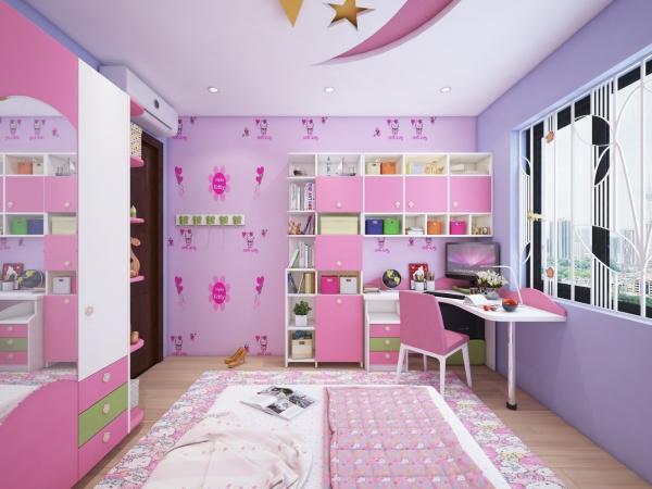 Sence Phòng Ngủ trẻ con 00021 - Thiết kế nội thất phòng ngủ con gái hồng tím phong cách hiện đại