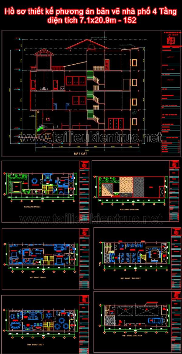 Hồ sơ thiết kế phương án bản vẽ nhà phố 4 Tầng diện tích 7.1x20.9m - 152