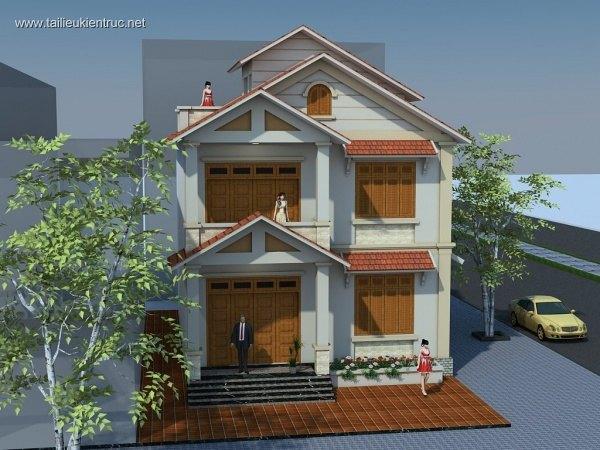 Hồ sơ thiết kế Biệt thự 2 Tầng 8,7x14x7m - 0054