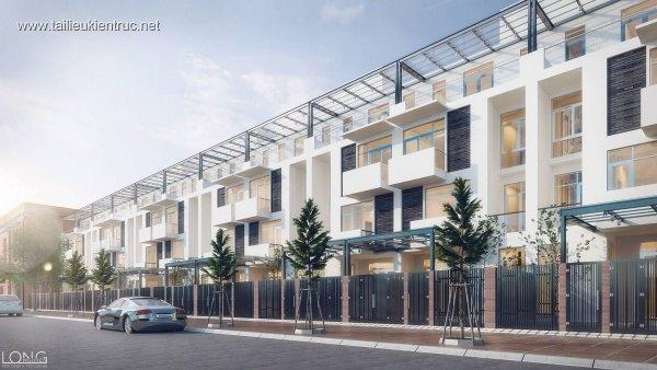 Sence House 00009 - Phối cảnh 3dsmax Nhà phố 3 tầng liền kề hiện đại