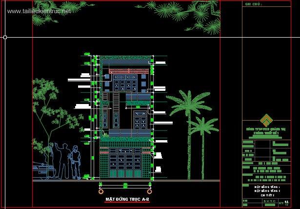 Hồ sơ thiết kế nhà phố lệch tầng 3 tầng diện tích 5x15m 087