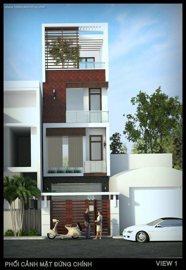 Hồ sơ thiết kế nhà phố 3 tầng diện tích 4,5x25m 068