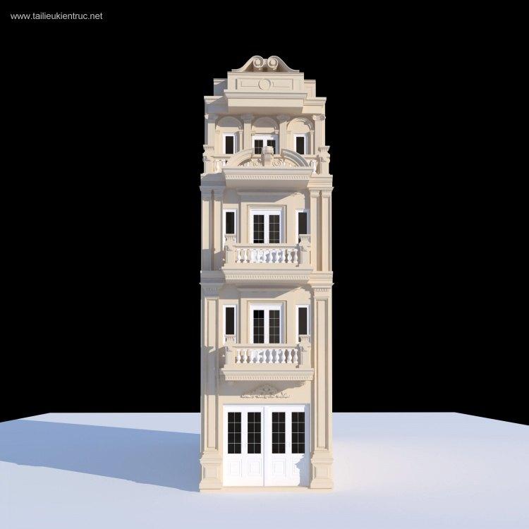 Thư viện 3dsmax Phối cảnh công trình Nhà phố tân cổ điển 019