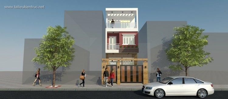 Hồ sơ thiết kế nhà phố 3 tầng diện tích 5x32m 097 Full kiến trúc