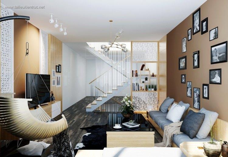 Phối cảnh nội thất 3D phòng khách Hiện đại 00040