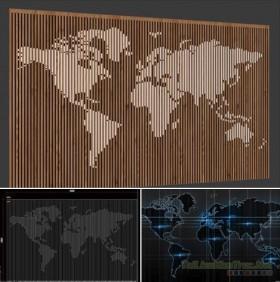 3d model Vách gỗ map bản đồ