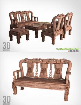 3d Model Bàn ghế Đồng Kị 00005