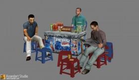 3D model quán trà đá chém gió