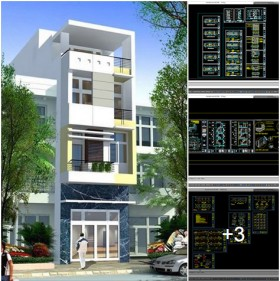 Hồ sơ thiết kế thi công nhà phố 4 tầng 4x18m - 014