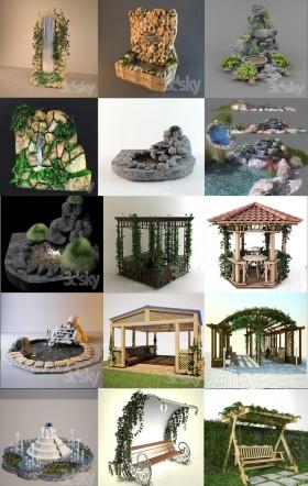 Tổng hợp 15 mẫu 3D Model Tiểu cảnh sân vườn đẹp