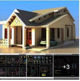 Hồ sơ thiết kế nhà 1 tầng đẹp diện tích 12x21m
