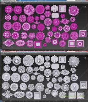 Thư viện 3DsMax về 54 chi tiết phù điêu thạch cao tân cổ điển