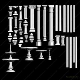 Thư viện 3DsMax về 46 chi tiết đầu cột và cột tân cổ điển