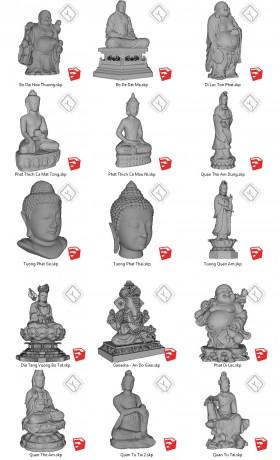 Thư viện Sketchup về 15 Model Tượng Phật đầy đủ