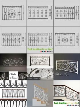 Tổng hợp 12 Model 3D về Hoa sắt, Lan can ban công, cầu thang Tân cổ điển