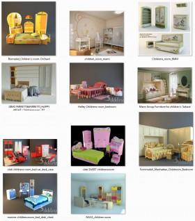 Tổng hợp 11 Model 3d Giường ngủ, bàn, tủ  trẻ em các loại 05