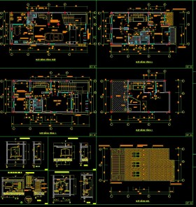 Hồ sơ thiết kế nhà phố 4 tầng diện tích 7x17m 043 mái dốc