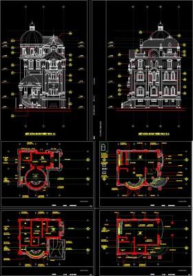 Hồ sơ thiết kế Biệt thự Lâu đài 4 Tầng Tân cổ điển diện tích 13x14m - 0037