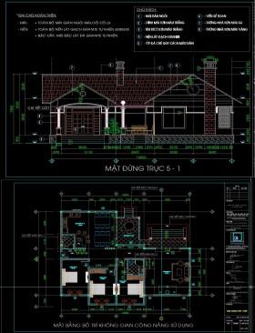 Hồ sơ thiết kế nhà 1 tầng đẹp diện tích 14x16m