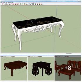 Tổng hợp thư viện Sketchup 3D model Bàn ghế cổ điển các loại