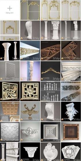 Tổng hợp 284 Model 3D về Phù điêu, phào, chỉ, cột Tân cổ điển Full