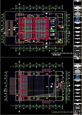 Bản vẽ autocad thiết kế hội trường 650 chỗ