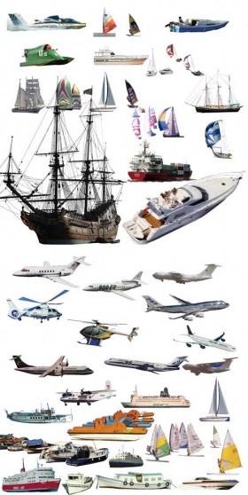 Thư viện Photoshop về các phương tiện giao thông Tàu thủy, máy bay