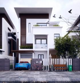 Sence Villa 00014 - Phối cảnh Biệt thự 3 tầng hiện đại File 3dsmax