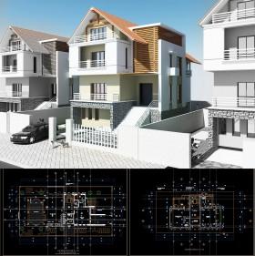 Hồ sơ thiết kế biệt thự 3 tầng trên đất diện tích 16x30m - 0066