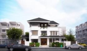 Sence Villa 00015 - Phối cảnh Biệt thự 3 tầng hiện đại File 3dsmax