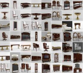 Tổng hợp 65 Model 3D về bàn ghế, giường, tủ, kệ Tân cổ điển