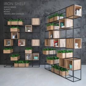 Thư viện 3d model kệ sắt gỗ trang trí P1