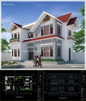 Hồ sơ thiết kế biệt thự 2 tầng diện tích 13x8m - 0067