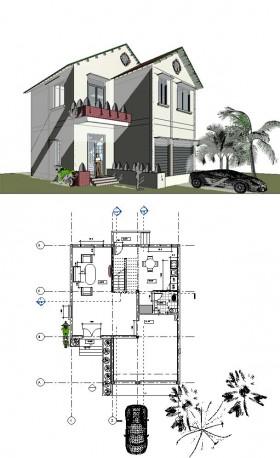 Hồ sơ thiết kế biệt thự 2 tầng 9,4x22m file Revit full