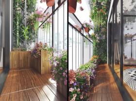 Phối cảnh 3d Ngoại thất Ban công trồng hoa đẹp