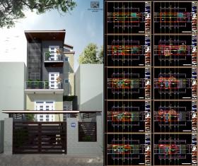Hồ sơ thiết kế nhà phố gồm 1 tầng hầm 3 tầng nổi diện tích 6,3x17m full kiến trúc 083