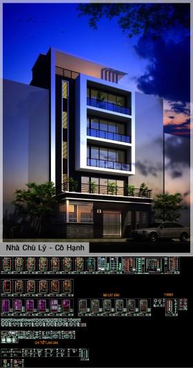 Hồ sơ thiết kế nhà phố 5 tầng có thang máy diện tích 10x19,5m full kiến trúc, kết cấu, điện nước 084