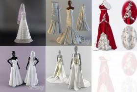 Thư viện 3D tổng hợp 5 model váy cưới cô dâu