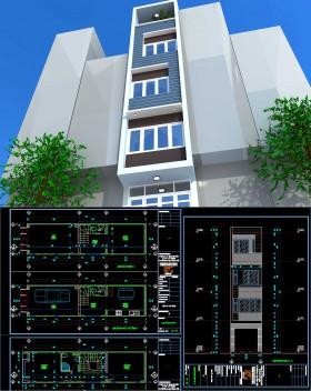 Hồ sơ thiết kế nhà phố lệch tầng 4 tầng diện tích 3,6x14,8m 086