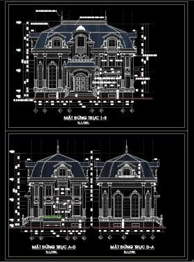 Hồ sơ thiết kế thi công Biệt thự Lâu đài 2 Tầng Tân cổ điển 8,5x15,7m - 0072 Full kiến trúc
