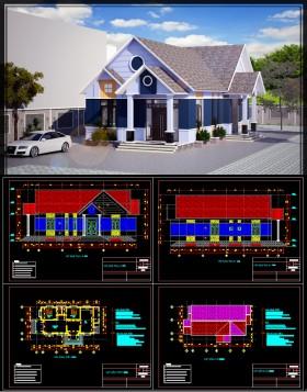 Hồ sơ thiết kế nhà 1 tầng 9,5x19,8m full kiến trúc, kết cấu 020