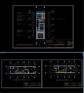 Hồ sơ thiết kế nhà phố 4 tầng diện tích 4,5x18m 092 Full kiến trúc, kết cấu và điện nước