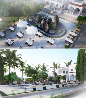 Phối cảnh 3d tiểu cảnh hòn non bộ nằm trong dự án resort full 3dsmax